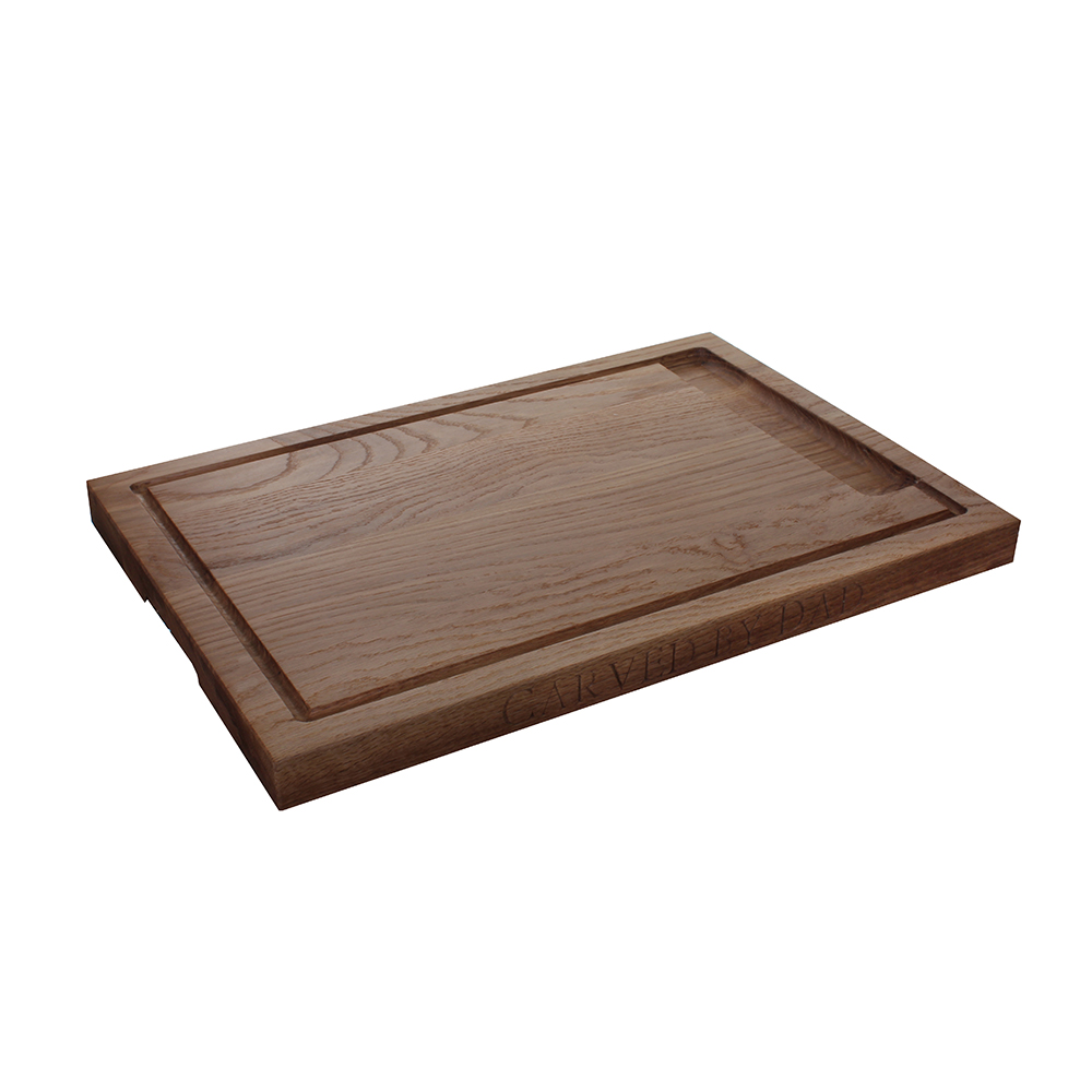 Carving Board   Presenting your roast, we present our carving board - with hand-grooved troughs to catch those flowing juices. Sorry ... !  l. 500mm w. 350mm*  £80