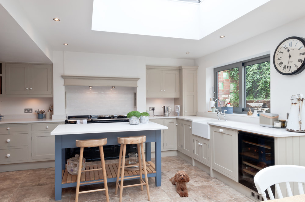 Open-plan entertaining: dining, island-seating - a sociable space. Loved too by lovely doggy, Toffee.