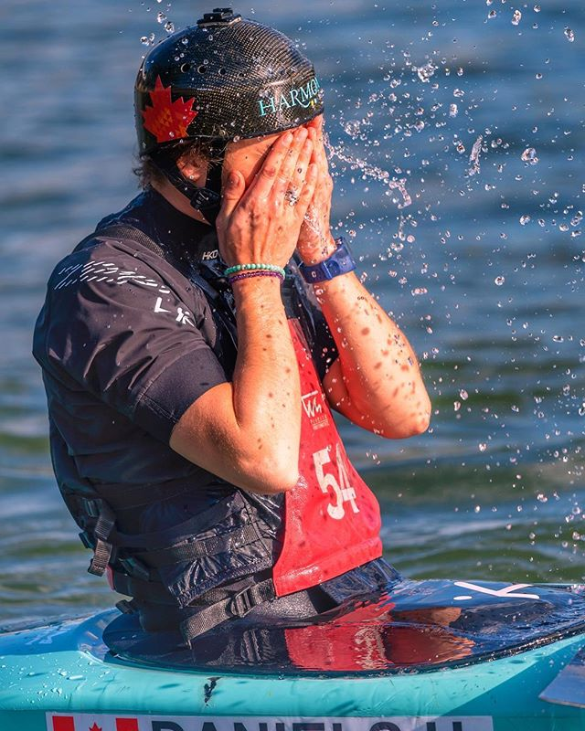 Feeling the heat first few sessions in Penrith..... it's so good to beat the heat on the water though. 🥵🌊 Stoked to get after some more sessions on one of my fav courses! 📸: @jgrimages @liveinharmonyab . . . #penrith #beattheheat #summerlove #chasesummer #australia #canoeslalom #teamcanada #mapleleaf #togethertotokyo #training #athletelife #splash