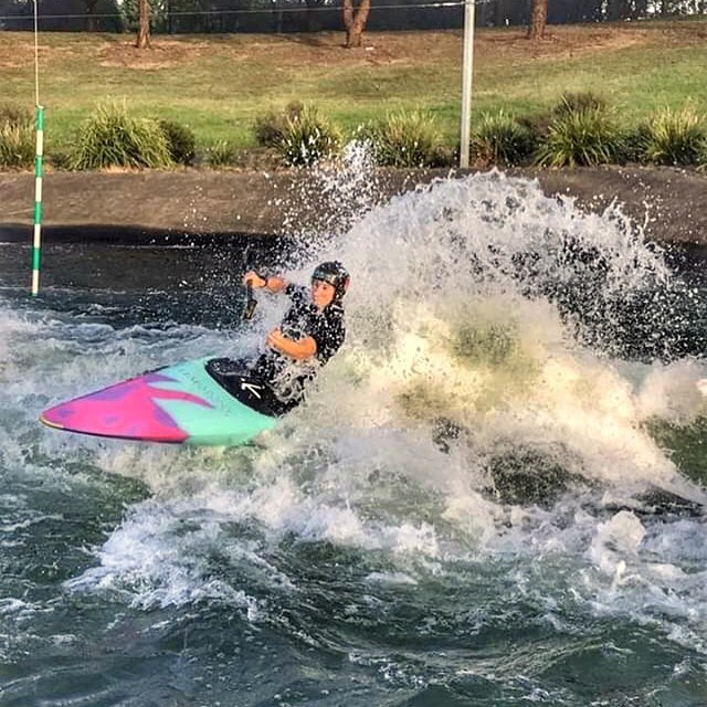 Main wave giving me the power to soar this am. Loving the new boat colours! 📸: @caseysjones . . . #canoeslalom #flying #soar #wave #splash #canoeing #liveinharmony #summer #australia #penrith #stoked #DevInspired #unicorn #wepaddle