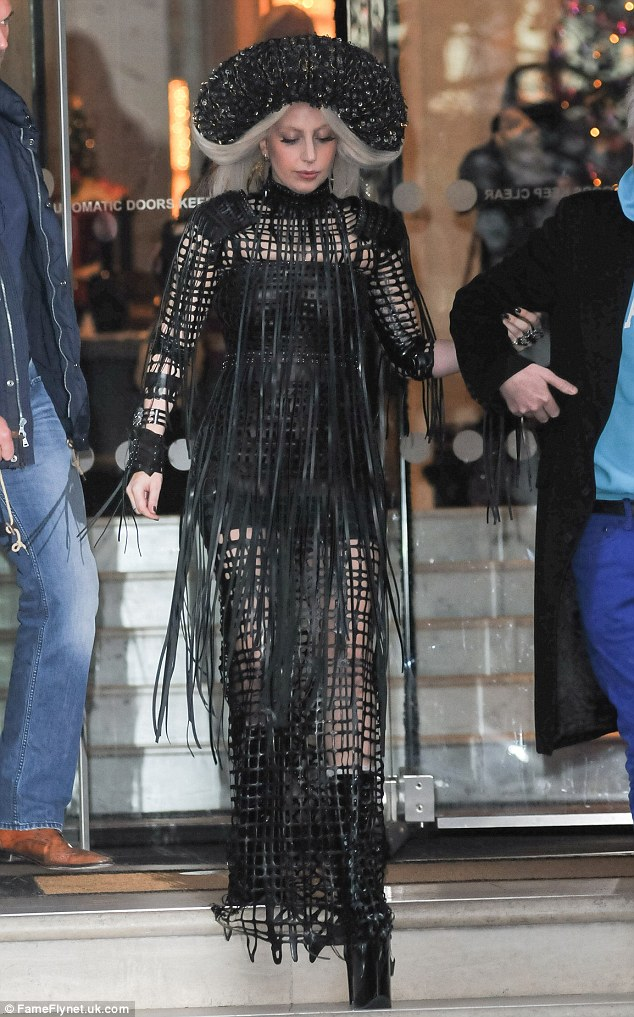 Lady Gaga in Sasha Louise for her visit to 'Isabella Blow: Fashion Galore!' exhibition.