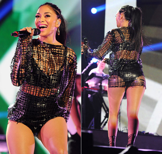 Nicole Scherzinger in Net jumper for Performance