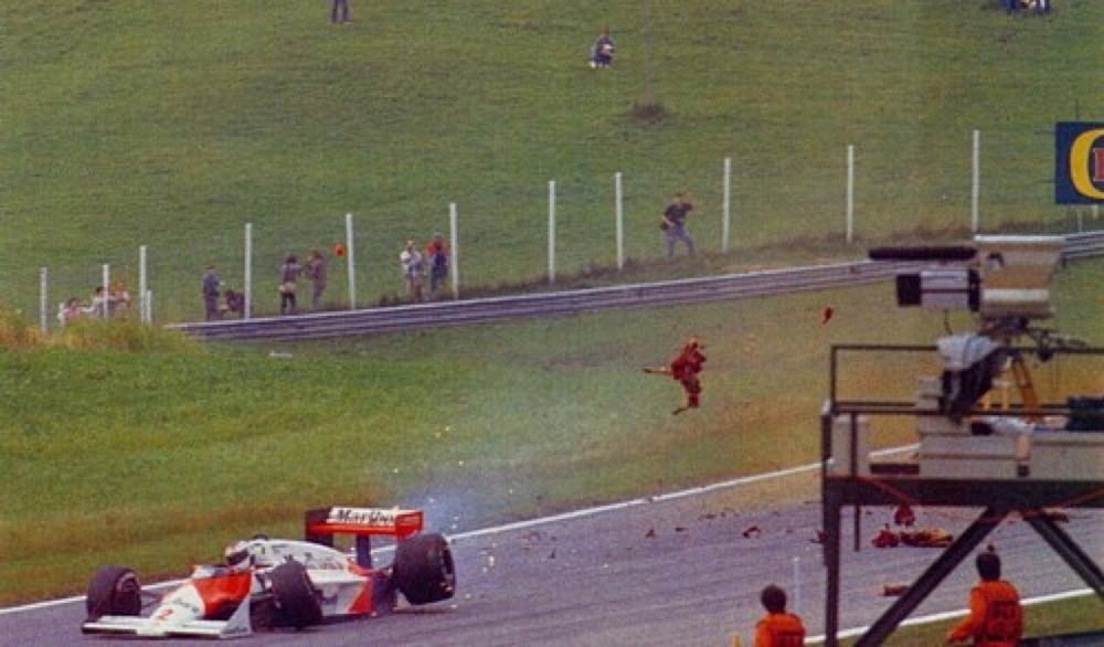 Stefan Johansson Deer Accident Austrian GP 1987.jpg