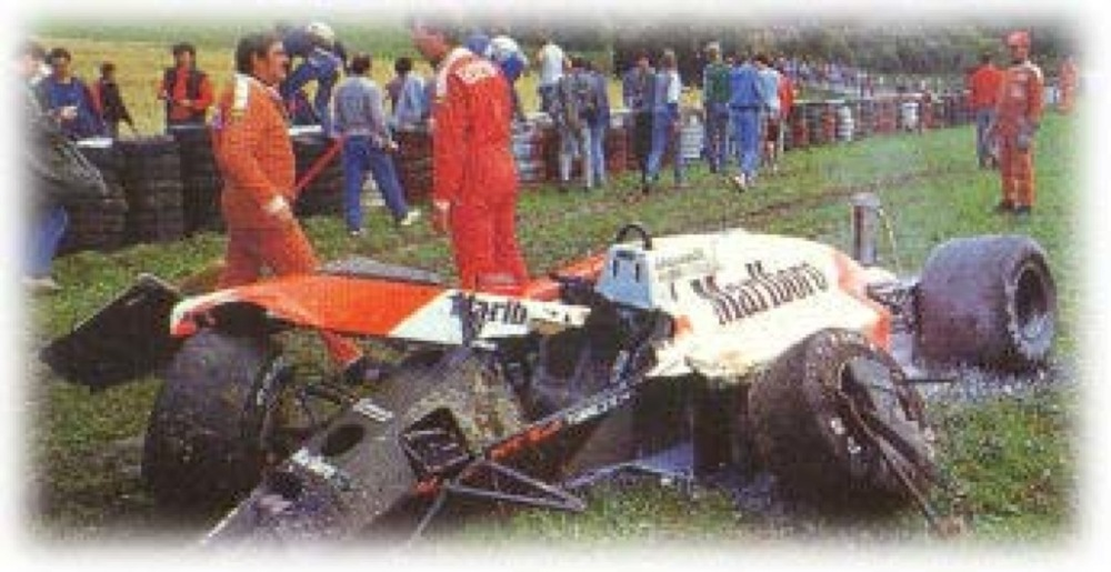 Stefan Johansson Deer accident 1987 McLaren MP4.jpg