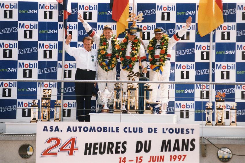 Stefan Johansson, Michele Alboreto, Tom kristensen Le Mans Podium 1997.jpg