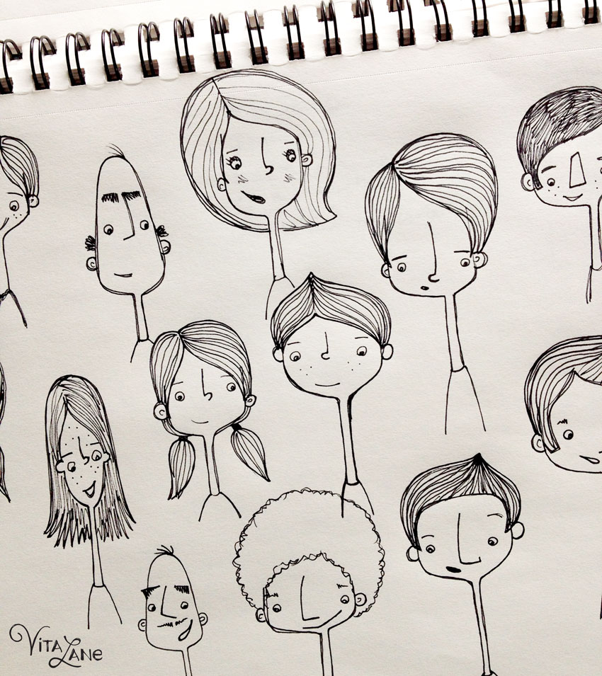 I filled up several pages in my sketchbook of people while listening to the keynote speakers - I was so inspired  by everyone around me and the buzz in the air!