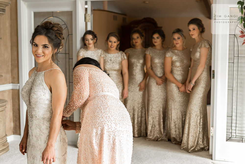 A very sweet moment of Kailey's bridesmaids admiring her final details.