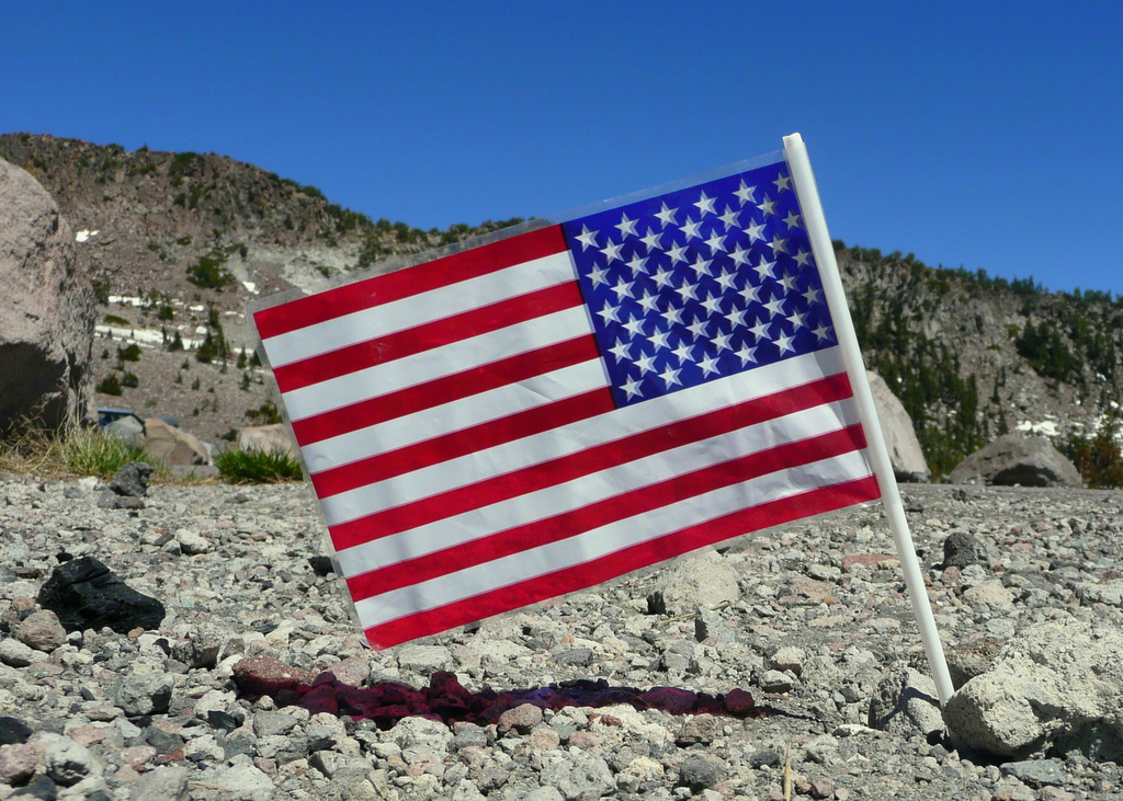 4th July flag on Mt Shasta Bai Shan