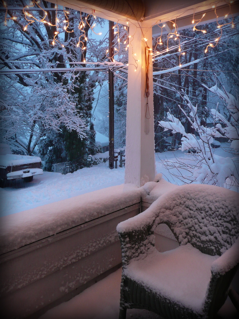 Snowy porch, blue shadows & amber street light