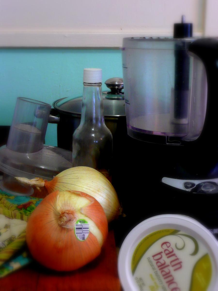 Still life making onion soup