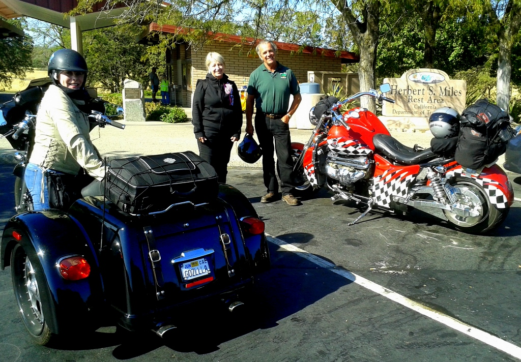 Awesome rides seen at rest stop at Red Bluff.  Check out the corvette flag motif design on the bike with a corvette engine!!