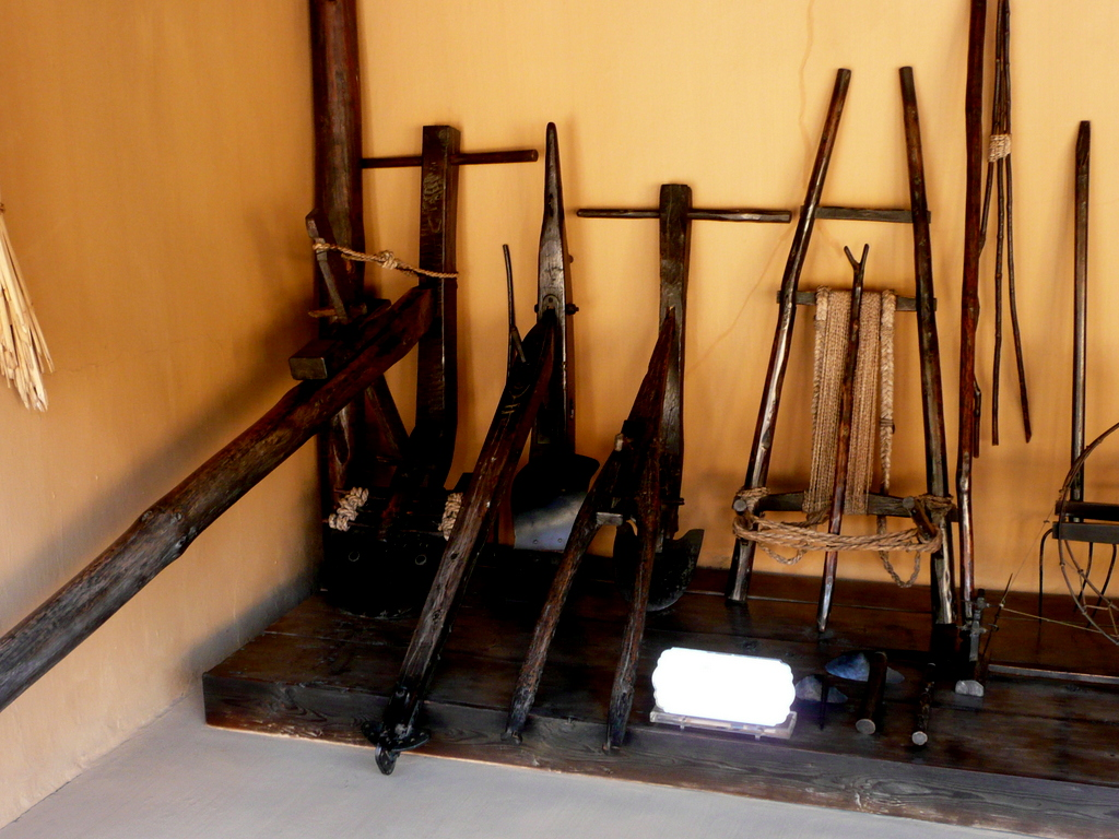 Old farm implements at the grandparents' farmhouse