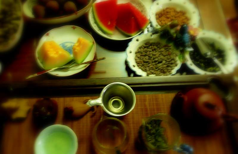 Tea service with fruit