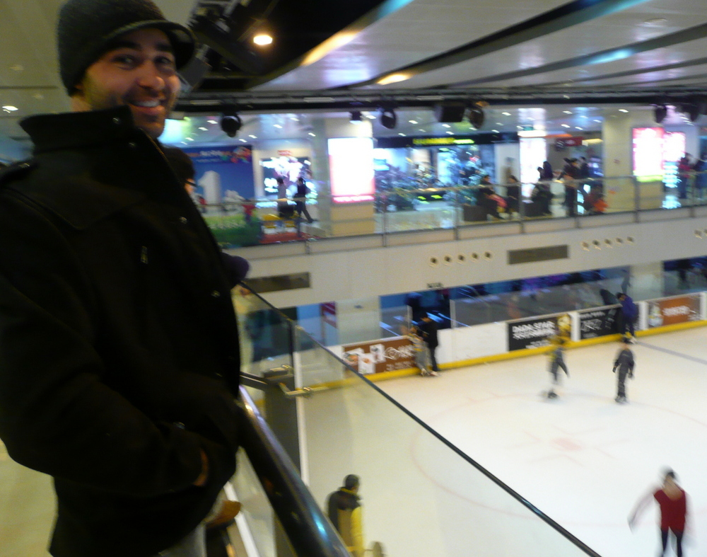 Justin at the mall ice scating rink