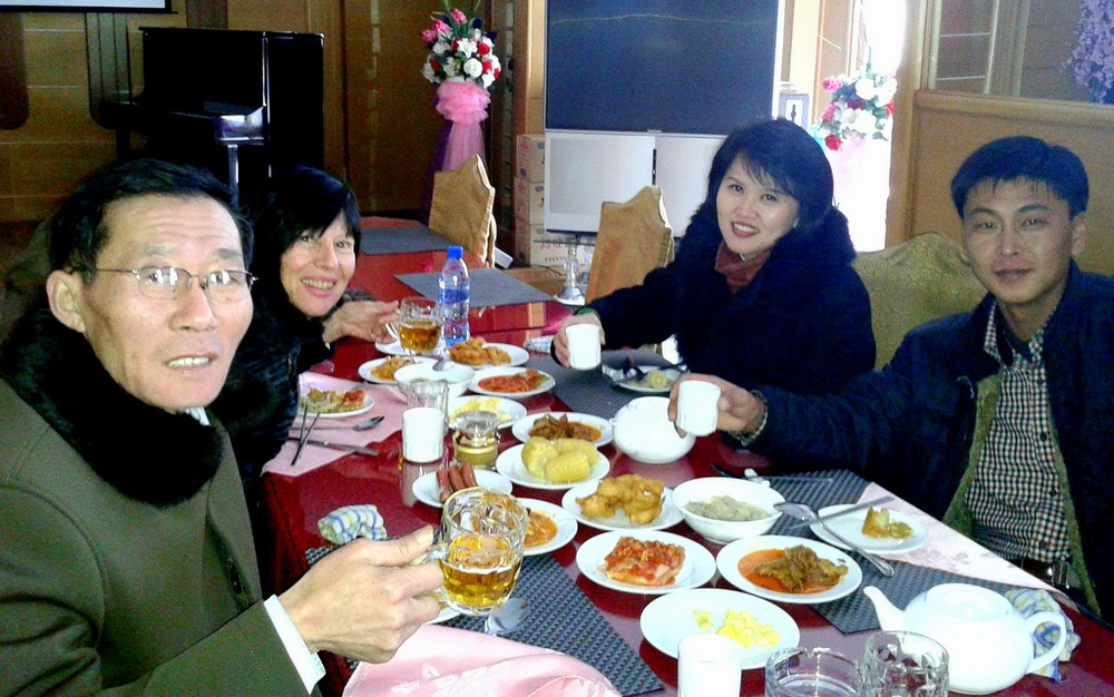 Merry lunch in freezing restaurant