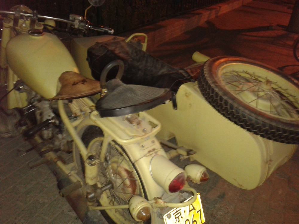 Russian motorcycle and sidecar