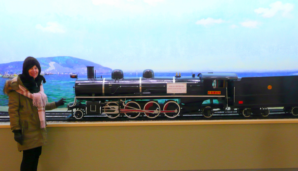 Scale model of narrow gauge steam locomotive
