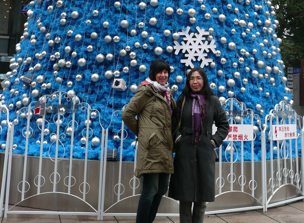 Blue tinsel tree Nanjing Road