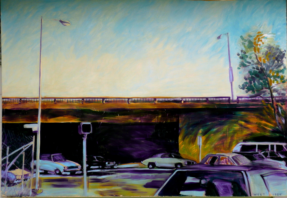 Sepulveda Boulevard, Los Angeles, 78 x 54 inches, 1985.  This large format composition features impressionistic sky treatments above strong drawing and action painted street scene dominated by the freeway overpass in purples and ocher.
