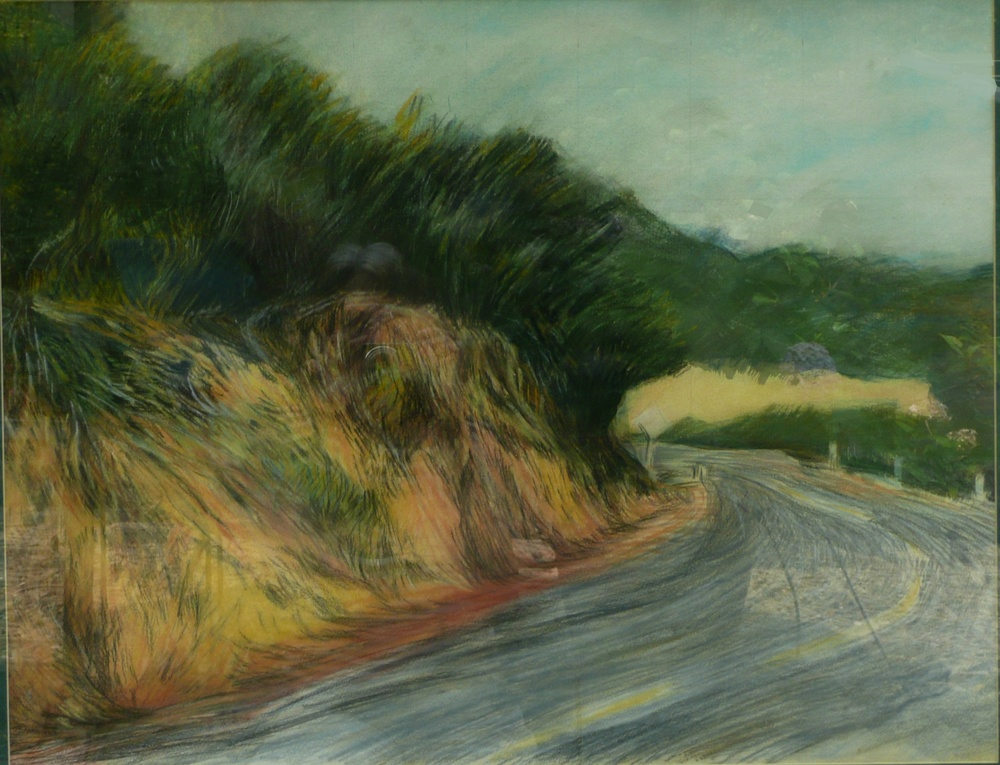 Mulholland Drive, 31 x 22 inches, 1984, pastel.  White road markers beside and yellow lines on the baked asphalt two-lane road curl and curve into a blind corner.  The winding street in the Santa Monica Mountains behind Hollywood, running all the way to the beach, inspired 2001 American neo-noir mystery film Mulholland Drive.
