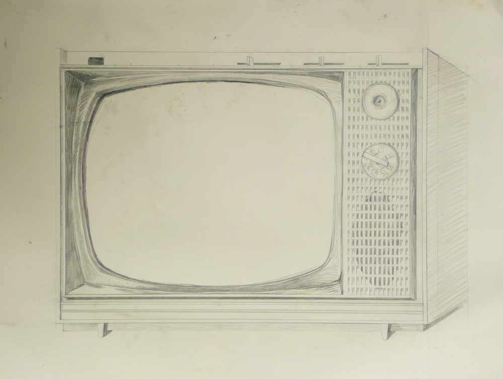 Television    , 31 x 22, 1984, pencil drawing.
