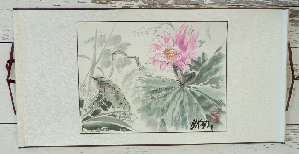 Lianhua , Waterlily, was painted in Beijing in 2011 and is mounted traditionally on a horizontal silk scroll. It is a    Hua Niao Hua   ─flowers─style.