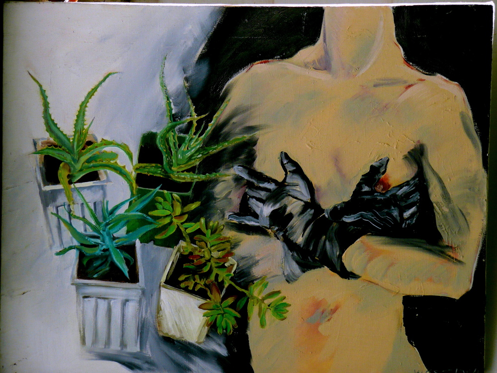 Succulents Still Life with Nude,  24 x 32 inches,1985, Cheryl Petty