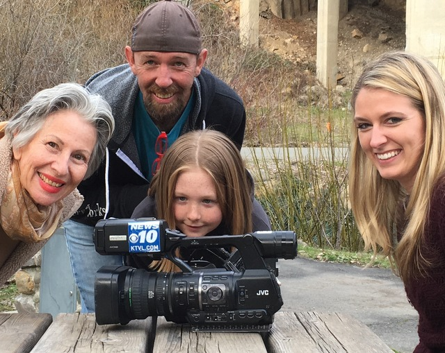 Channel 10 News reporter, Ariana Rakhshani (right) at photo shoot with Dunsmuir locals Petty, Aaron Greener and his daughter Riley.  Location Tauhindauli Park and Trail.