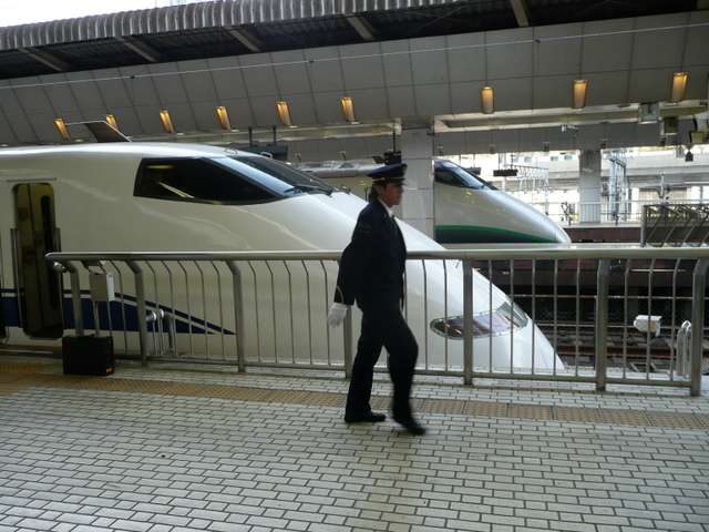Conductor with his train orders Shinkansen Bullet Train