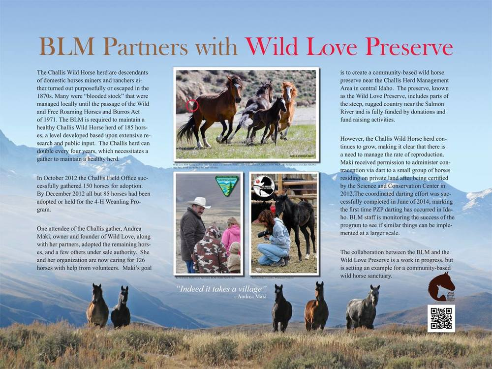 "Idaho BLM Announcement of Partnership with Wild Love Preserve as a ""Paradigm Project"", September 2014"