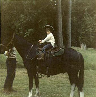 Four year old Andrea in the saddle,1970.