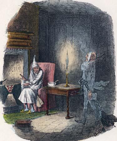 Scrooge meets Marley's ghost