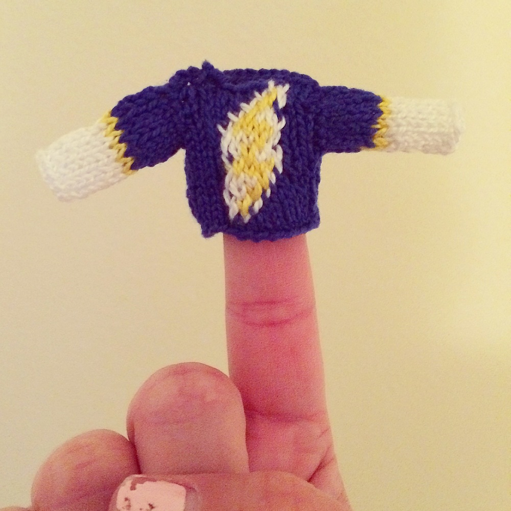 Miniature sweater with Chargers football team logo