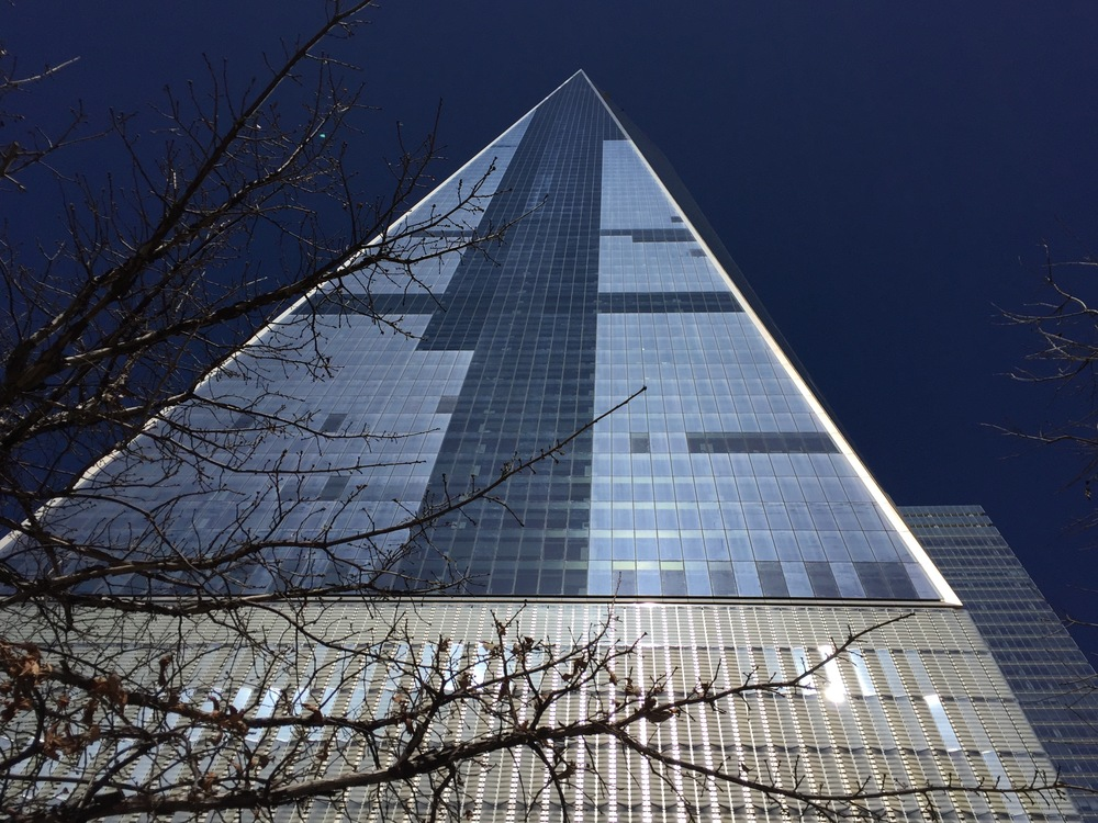 One World Trade Center from the ground.