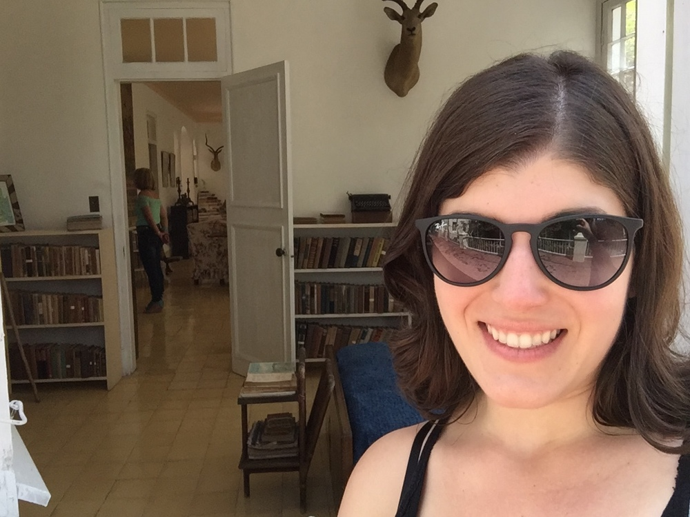 """In front of Ernest Hemingway's writing room, where he wrote """"The Old Man and the Sea."""""""