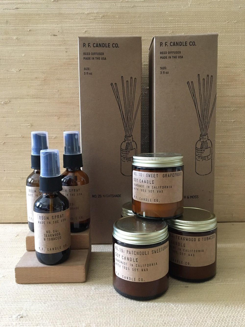 PF Candle Co out of LA, room diffusers, room sprays, candles