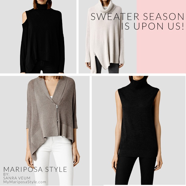 Upper left corner- Cecily Sweater $195, upper right corner- Able Roll Neck Sweater $250, bottom left corner- Ali Cardigan $230, bottom right corner- Coyte Tank Top $178