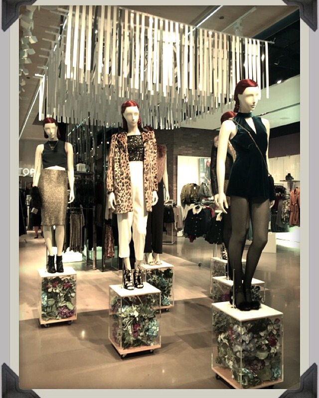 "Current inspirational displays of fun ""holiday party looks"" at Topshop!"