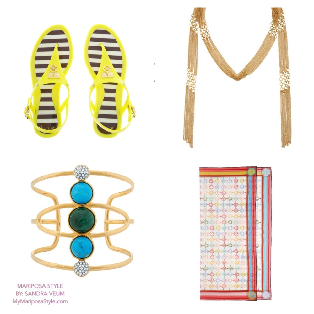 Jelly Sandals $88, monogram silk scarf $138, empire fringe scarf necklace $198, boho grand cuff $168