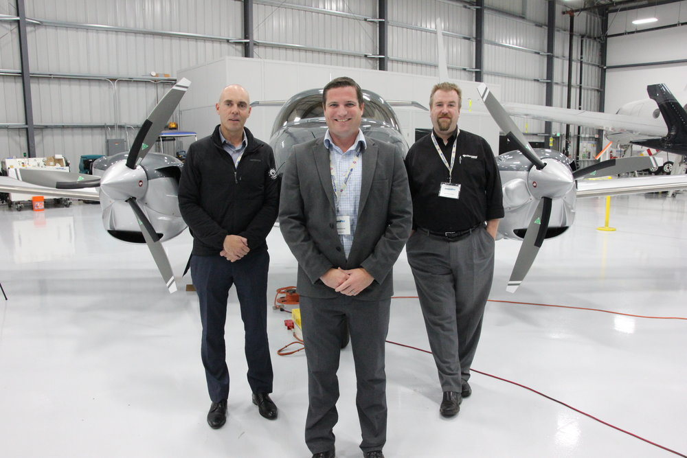 Left to right:  Seosamh Somers, Founder, Angel City Flyers    Scott McFadzean CEO, Diamond Aircrafts    William Hawkes, Customer Support Manager, Diamond Aircraft
