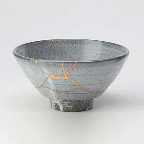 """""""Tea bowl fixed in the Kintsugi method"""" by Unknown - museum collection documentation. Nicky Case's talk shared an anecdote about the Japanese art of Kintsugi, where broken ceramics are mended with gold to accentuate the breaking and repair inherent in the history of the object, instead of hiding the flaw (or erasing it by throwing it out); flaws are part of the honest beauty of this art."""