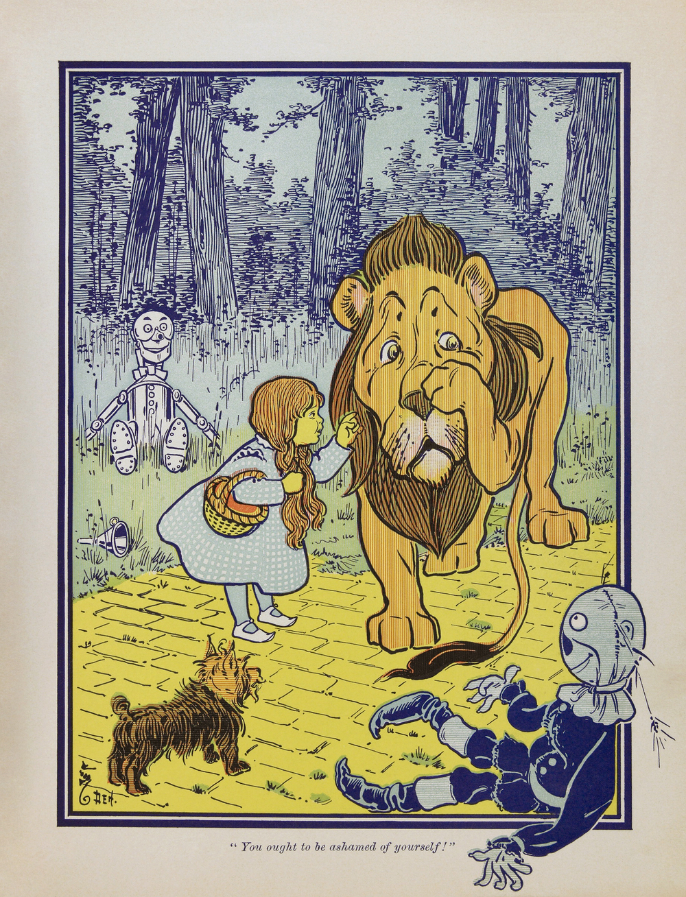 """Cowardly lion2"" Illustration by W.W. Denslow (d. 1915)"