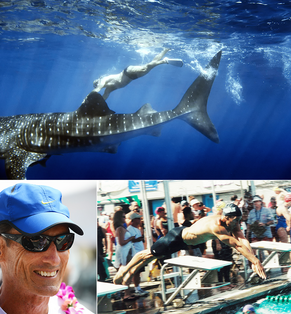 Steve hitches a ride on a Whale Shark off of the Kona Coast and on his way to another World Masters Swimming Record.