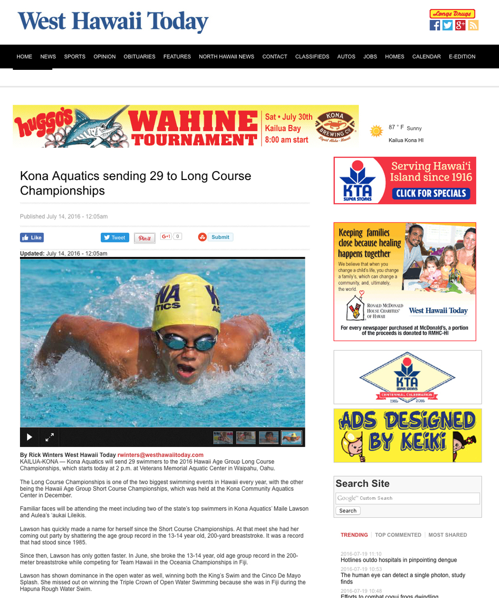 Kona Aquatics sending 29 swimmers to the 2016 State Long Course Swimming Championships.