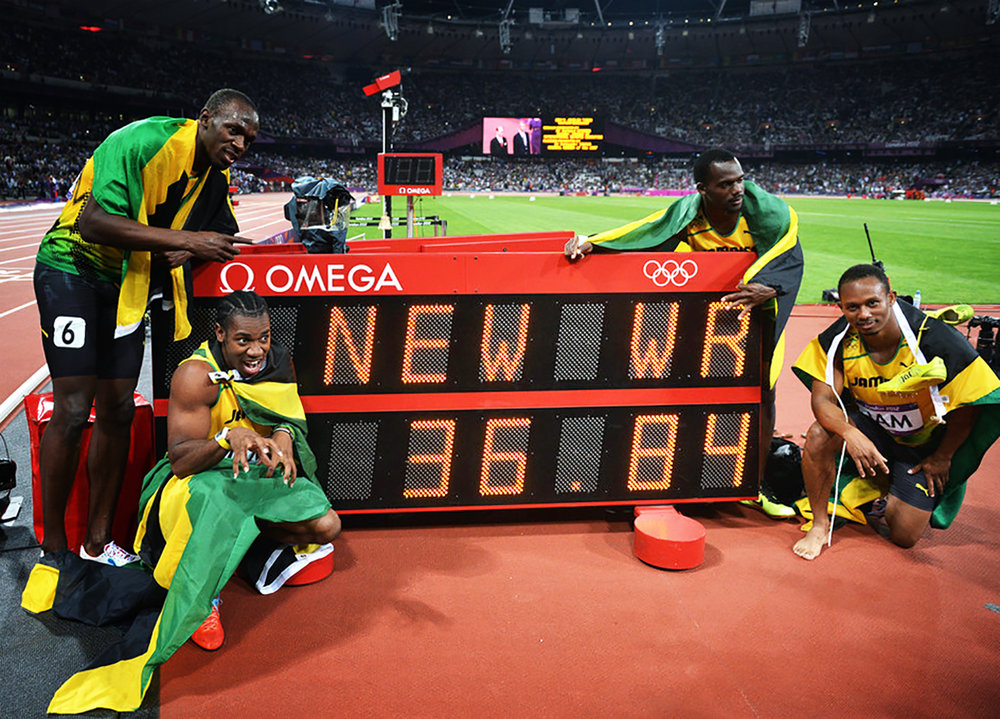 From bottom left - Yohan Blake, Usain Bolt, Nesta Carter, Michael Frater. 2012 London Olympics World Record 4x100 Relay.