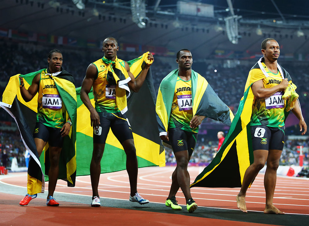 Michael and his 4x100 relay team mates at the 2012 London Olympic Games..