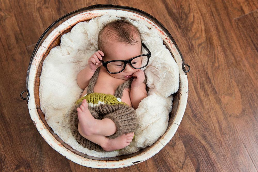 Newborn baby nerd bucket