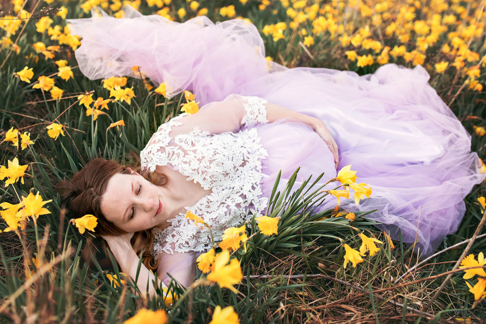 Gatlinburg photographer photographs maternity in purple gown.