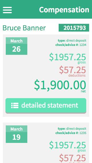 Recent checks view (mobile)
