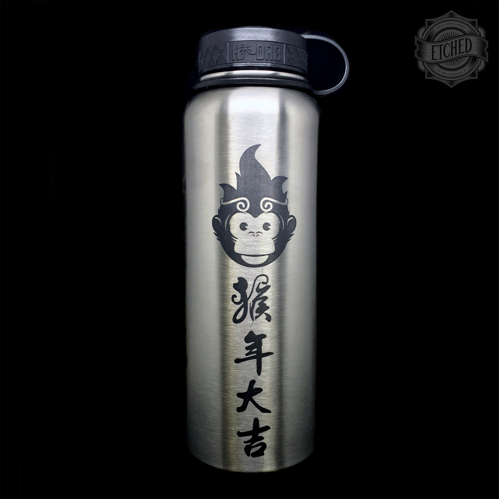 Laser Etched Year Of The Monkey Hi Dr8 Flask Etched